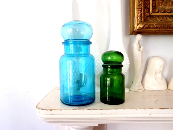Apothecary Jar Set Bathroom Storage Blue and Green Glass Jar Bubble Top Danish Modern