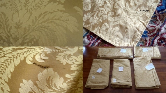Brocade Curtains Damask 1960s Massive Theater Curtains Swag Curtain Panel Set