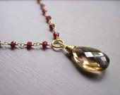Smoky Quartz and Garnet Necklace, Handmade Gemstone Necklace in 14K Gold Fill, Rosary Style Gold Necklace