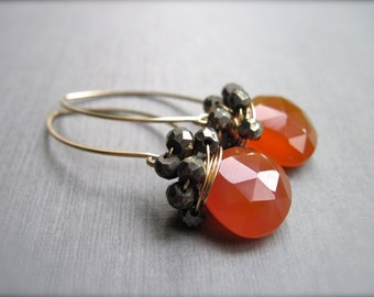 Deep Orange Chalcedony and Pyrite Earrings in 14K Gold Filled, Wire Wrapped Gemstone Dangle Earrings