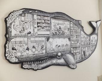 Large Whale Men Submarine Cutaway Screen print Illustration