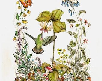 Fairy Art - Bird Art -  Fantasy Print - Nursery - Kids Room