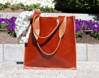 OFFER Tote bag, leather tote bag, shopping bag, laptop bag - Dark brown hand stitched leather