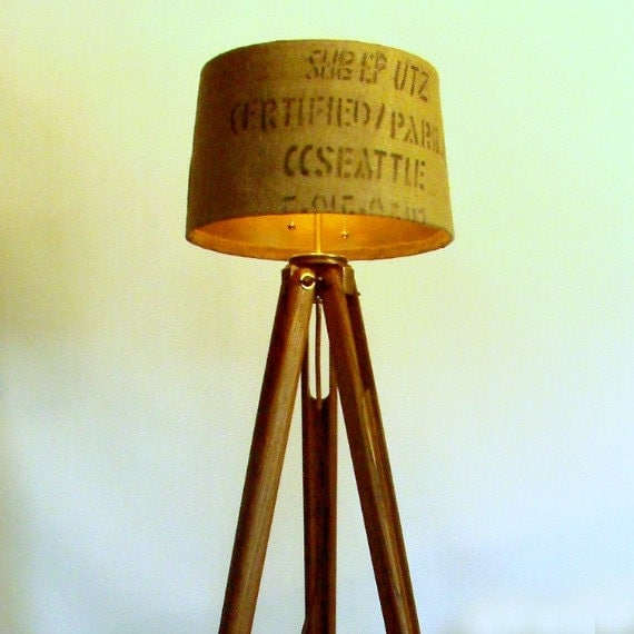 Wood tripod floor lamp industrial light reclaimed lighting for Surveyors floor lamp wood