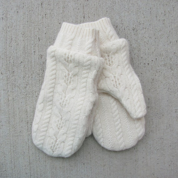Mittens from recycled sweaters fleece lined winter white cable knit