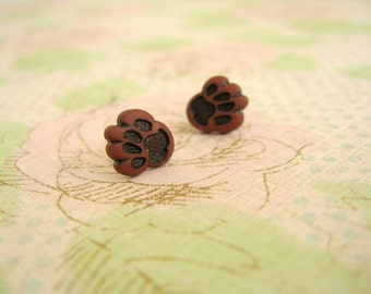 Small Brown Black Paw Earrings, Small Paw Jewelry, Paw Button Earrings, Paw Stud