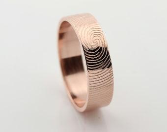 Your Custom Fingerprint Ring - 14k Rose Gold  Engraving Wedding  Band - fine line engraving