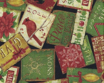CLEARANCE!  Christmas At Home, South Sea Imports, Cards, 1/2 Yard