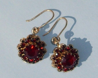 Red glass Vintage earrings on Gold filled Wire