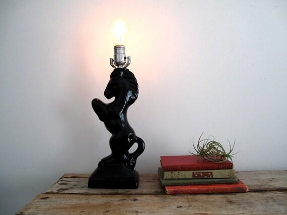 Vintage Black Ceramic Horse Lamp Retro By Snapshotvintage On Etsy