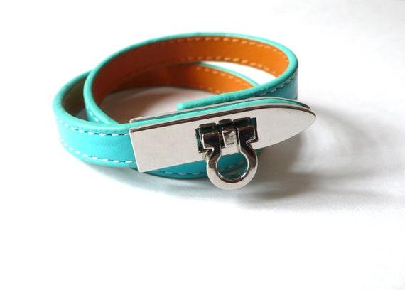 Double Wrap Turquoise Leather Bracelet - New
