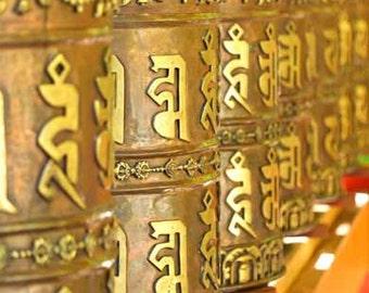 Prayer Wheels Photo 5x7 - Inspirational Photographs, Zen Photo, Buddhist Wall Art, Meditation Photo, Peaceful Art, Spiritual Decor, Golden