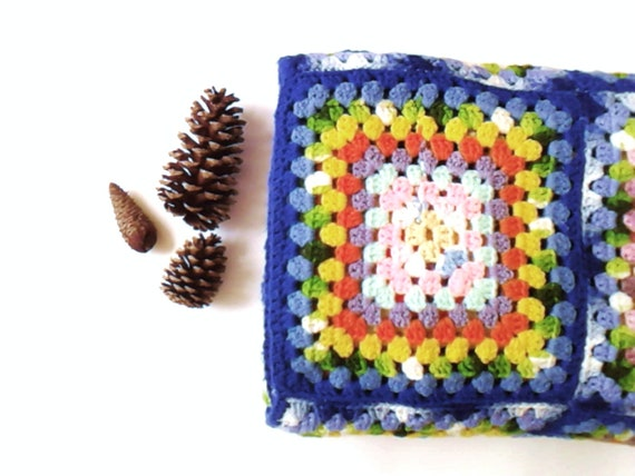 afghan granny square crocheted large colorful vintage Back To School Dorm Decor