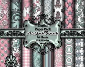 "Digital Paper,  16 Digital Scrapbook Paper Pack (12"" X 12"" - 300 DPI) -  Pink Aqua Damask - Digital Background - INSTANT DOWNLOAD"