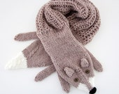 Hand knit fox scarf in light brown, hazelnut with polymer clay buttons
