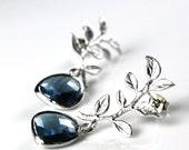 Silver branch earrings, Silver earrings, Blue Earrings, Blue necklace, Blue and Silver, Jewelry set