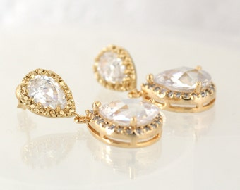 Bridal Earrings, Clear White Crystal, Zirconia Earrings, Gold Earrings, Wedding, Bridal, Bridesmaid, Clear, White, Crystal Earrings