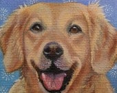 Golden Retriever Miniature Painting with Easel