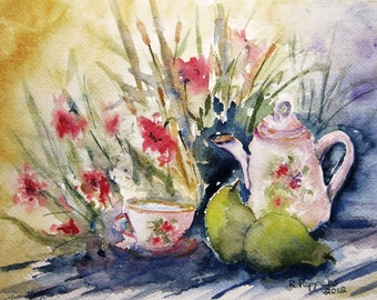 Still Life Painting, watercolor print, table still life, watercolor art, wall decor print, tea pot, tea cup, kitchen art, still life.