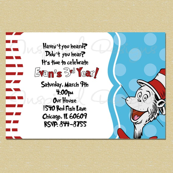 dr suess cat in the hat birthday by littlemunchkinprints