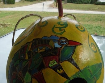 Hand painted gourd birdhouse with chameleon design