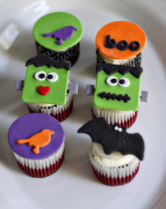 Halloween fondant halloween and frankenstein toppers for - Halloween decorations for cupcakes ...