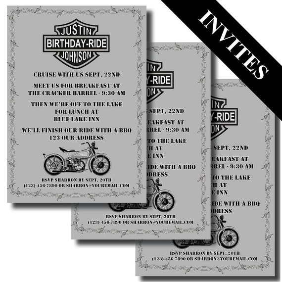 Items similar to Harley Davidson Motorcycle - Custom Printable Birthday Invitation on Etsy