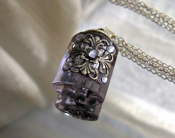 Perfume Bottle Necklace Purple And Silver Essential Oil / Perfume Bottle Necklace