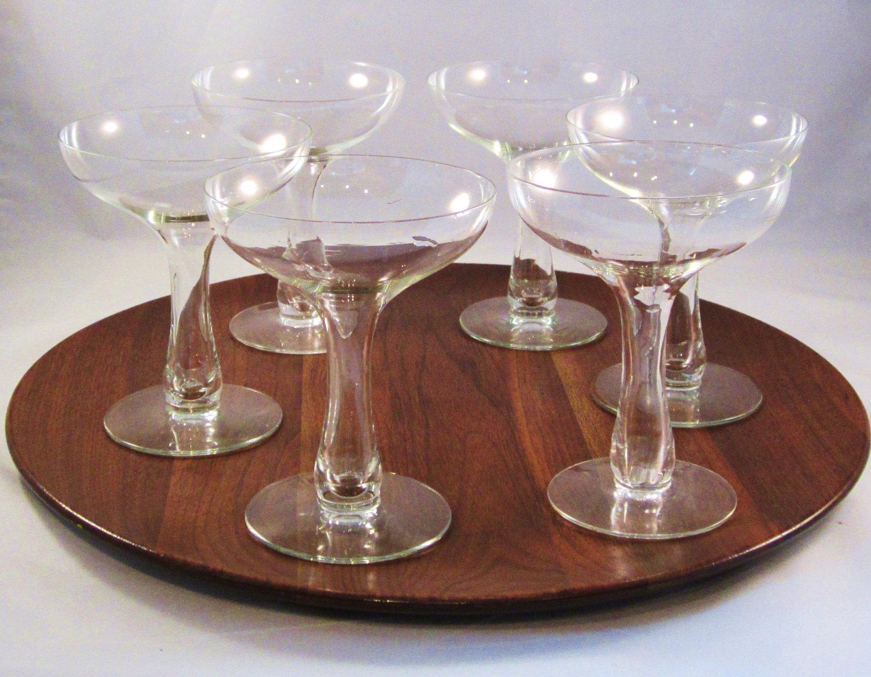 Vintage champagne glasses hollow stem set of 6 by rearcade on etsy - Hollow stem champagne glasses ...