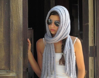 Gray  Scarf, Crocheted Loop Scarf, Womens Knit Scarf , Womens Clothing Accessories