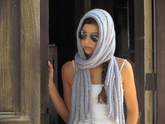 Gray  Scarf, Knitted Loop Scarf, Womens Knit Scarf , Womens Clothing Accessories