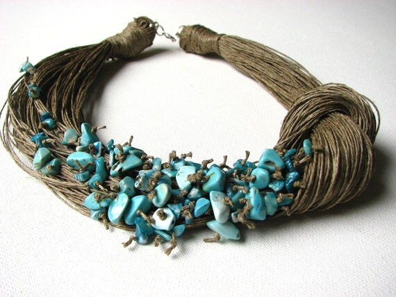 NatuRal TuRqUoiSe - BIG linen necklace
