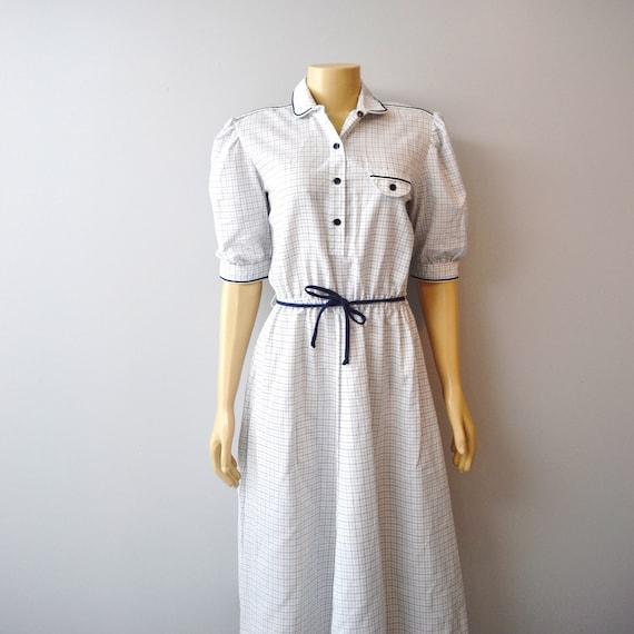 vintage shirt dress, navy, medium, large