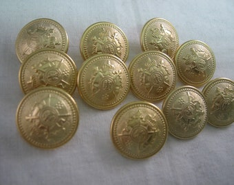 "Gold crest button 11/16""  Lot of 6 Jacket buttons"