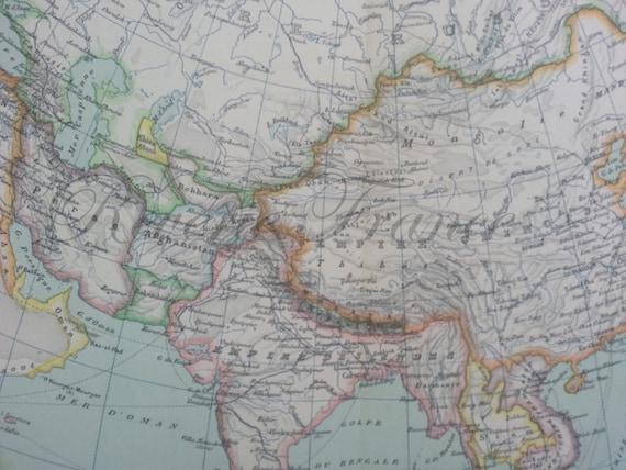 Antique Map of Asia Political  1891 Large map of Asia, China, India, Arabian Peninsula, Russia
