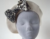 Ivory Hat- Ivory Beret Hat with Grey Leopard Fake Fur Bow