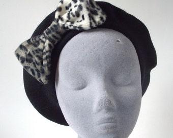 Black Hat- Black Beret Hat with Grey Leopard Fake Fur Bow