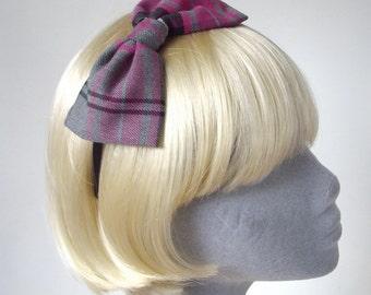 Pink  Headband- Pink-Grey Tartan Bow Headband