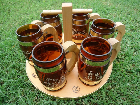 Vintage Siesta Ware Brown Glass Mugs with Wooden Serving Tray