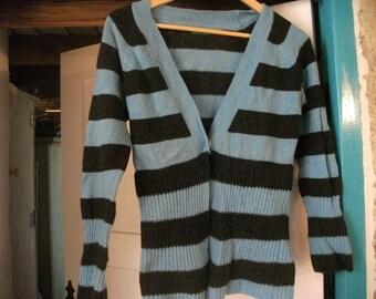 STRIPED CARDI, blue, black, wool mix, size s/m