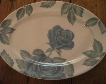 s.a.l.e- ROSE PRINT PLATTER, blue roses, dishwasher proof, cottage chic