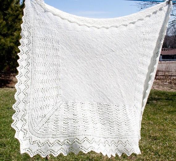 Handspun Handknit Shetland Style Shawl or Blanket in Super Fine Merino Wool