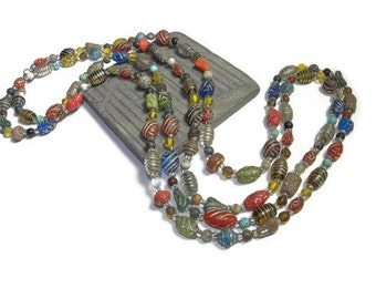 Semiprecious with Embossed India Beads Long Rope N110