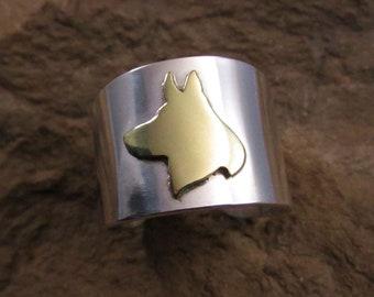 German Shepherd silver and brass cuff ring