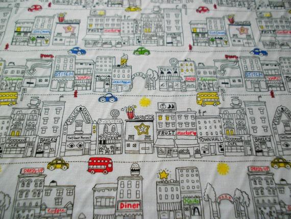 Timeless Treasure Fabric City Shops Cars White Summer Fun