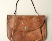 Vintage Leather Pouch with Cord Handle