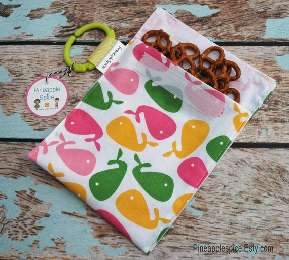 Eco friendly reusable sandwich snack bag Pink whales zoologie  GREAT for girls moms teachers and toddlers