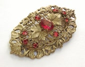 Antique Victorian brooch pin, ruby red glass crystal brooch, gold enamel, antique jewelry, Victorian jewelry, antique brooch, art nouveau