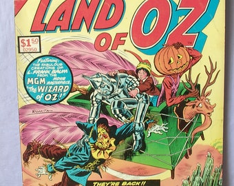 vintage 1970's Wizard of Oz comic book, Land of Oz 1975, large, Marvel, witch pumpkin, tin man cowardly lion, fairy tale