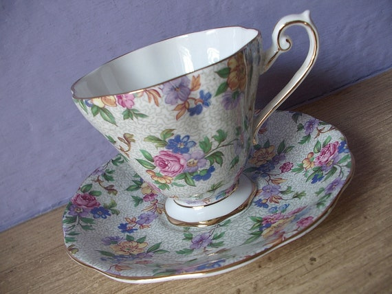 vintage English bone china tea cup and saucer set, Royal Standard, pink rose blue flower chintz, RESERVED for joiliee